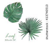 tropical leaves set isolated on ... | Shutterstock . vector #413740513