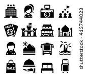 tourism icon set | Shutterstock .eps vector #413744023