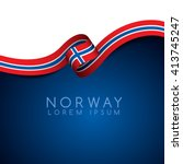 Norway Flag Ribbon   Vector...