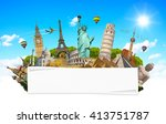 famous monuments of the world... | Shutterstock . vector #413751787