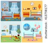 Children Bedroom Interior. Child Furniture and Toys. Toys for Kids. Children Room. Kids Bedroom Background. Children Toys in Bedroom. Children Bed. Child Care. Toys for Children. Vector illustration | Shutterstock vector #413758177