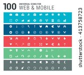 100 universal icons on colorful ... | Shutterstock .eps vector #413758723