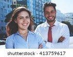 modern business team outdoor in ... | Shutterstock . vector #413759617