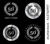 anniversary silver laurel... | Shutterstock .eps vector #413760997