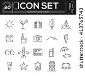 icon set summer and travel. ... | Shutterstock .eps vector #413765743
