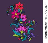 hand drawn vector floral... | Shutterstock .eps vector #413779207