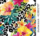 Tropical Watercolor Flowers An...