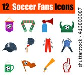 flat design football fans icon...