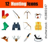 flat design hunting icon set in ...