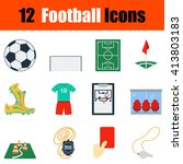 flat design football icon set...