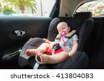 cute baby girl is sleeping in... | Shutterstock . vector #413804083