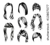 fashion woman hairstyle set.... | Shutterstock .eps vector #413807077