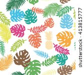 background of tropical leaves... | Shutterstock .eps vector #413815777