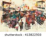 couple walking on harbor pier... | Shutterstock . vector #413822503