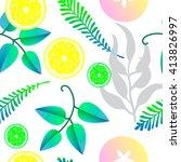 vector pattern with fresh lemon ... | Shutterstock .eps vector #413826997