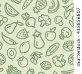 vegetables and fruits pattern... | Shutterstock .eps vector #413836807
