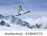 snowboard rider jumping on... | Shutterstock . vector #413840173