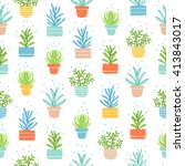 succulents colorful doodle... | Shutterstock .eps vector #413843017