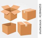 set of cardboard boxes | Shutterstock .eps vector #413846053