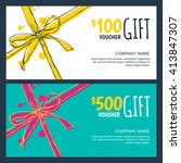 vector gift vouchers with bow... | Shutterstock .eps vector #413847307