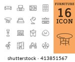 outline web icon collection  ... | Shutterstock .eps vector #413851567