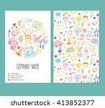 flyer brochure vector template with doodle children drawing | Shutterstock vector #413852377