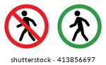 prohibition sign set for walk . ... | Shutterstock .eps vector #413856697
