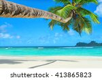 tropical ocean beach baie... | Shutterstock . vector #413865823