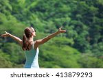 young woman feeling free... | Shutterstock . vector #413879293