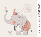 elephant in suit. hand drawn... | Shutterstock .eps vector #413879443