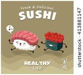 vintage sushi poster design... | Shutterstock .eps vector #413881147