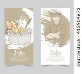 bakery banner set. illustration ... | Shutterstock .eps vector #413904673