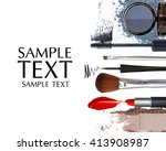 makeup brush and cosmetics on... | Shutterstock . vector #413908987