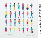 men and women people icon with... | Shutterstock .eps vector #413911207