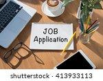 job application open book on... | Shutterstock . vector #413933113