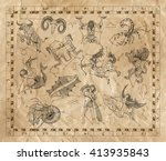 old placard with zodiac signs... | Shutterstock . vector #413935843