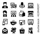 advertising icon set | Shutterstock .eps vector #413949097