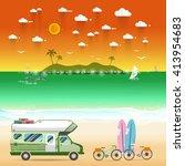 summer beach camping island... | Shutterstock .eps vector #413954683