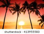 tropical sunset | Shutterstock . vector #413955583