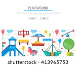 children's playground with... | Shutterstock .eps vector #413965753