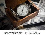 Pocket Watch In Wood Box With...