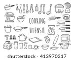 set of kitchen utensil doodle | Shutterstock .eps vector #413970217
