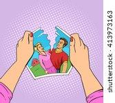 hands tear photo of couple pop... | Shutterstock .eps vector #413973163