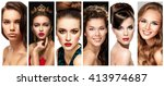 beauty collage. faces of women. ... | Shutterstock . vector #413974687