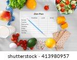 sheet of diet plan and fresh... | Shutterstock . vector #413980957