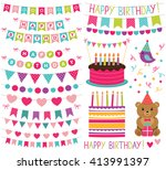 kid birthday party vector... | Shutterstock .eps vector #413991397