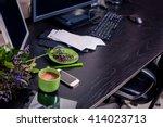 top view of desktop. home...   Shutterstock . vector #414023713