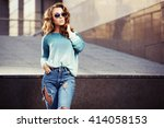 happy young fashion woman in... | Shutterstock . vector #414058153
