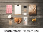 burger bar stationery mock up ... | Shutterstock . vector #414074623