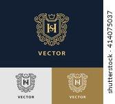 line graphics monogram. elegant ... | Shutterstock .eps vector #414075037